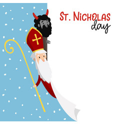 Saint nicholas with devil and falling snow cute vector