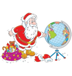 Santa Claus with a globe vector