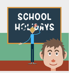 schoolboy wipes a school board vector image