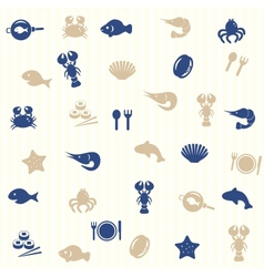 Sea food seamless pattern vector image
