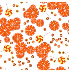 Seamless pattern of oranges slices and candy vector image
