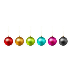 set of color christmas ball on white background vector image