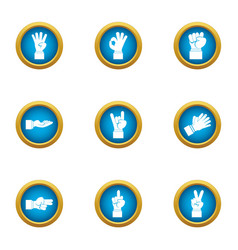 Sign language icons set flat style vector