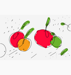 Sketch of apples in eclectic style light vector