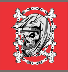 skull wearing helmet motocross with chain hand vector image