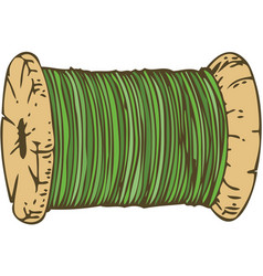Spool of green thread vector