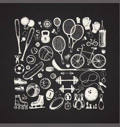 Sport sketch equipment hand drawn vector