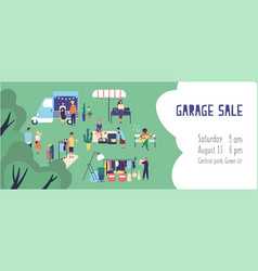 Summer garage sale street flea market or rag fair vector