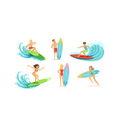 surfing people collection male and female surfers vector image