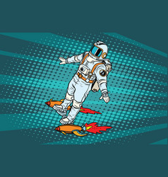 the astronaut is flying on a space rocket vector image