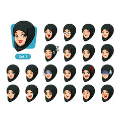 The third set of muslim woman cartoon avatars vector