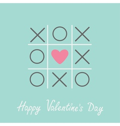 Tic tac toe game cross and heart valentines day vector