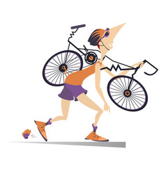 Tired cyclist with a broken bike vector