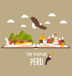 Tourist poster of peru with lamas landmarks vector