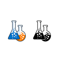 Two flasks with bulbing liquids icon vector