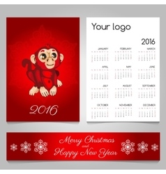 Two-sided calendar and banner in red with monkey vector image
