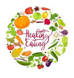 vegetables healthy food poster organic veggie vector image