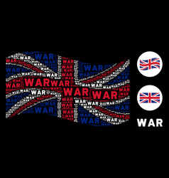waving british flag pattern of war text items vector image