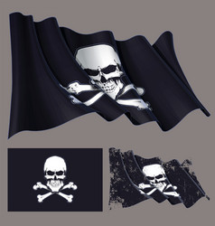 Waving pirate flag skull and bones vector