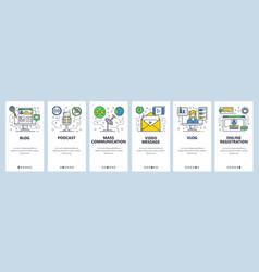 web site onboarding screens new online media vector image