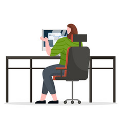 woman working on computer at office workplace vector image