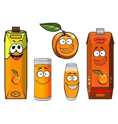 Cartoon apricot fruit juice and glasses vector image vector image
