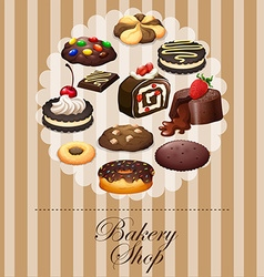 Diverse dessert on banner vector image
