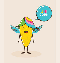 funny magical corn character with funny quote vector image vector image