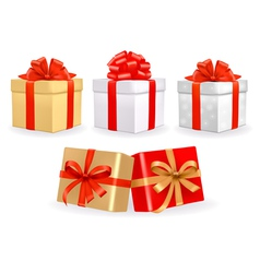 set of colorful gift boxes with bows vector image
