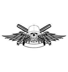 skull in baseball cap and wings vector image vector image