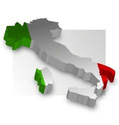 Three dimensional map of Italy in flag colors vector image vector image