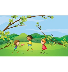 Two young boys and a young girl playing vector image vector image