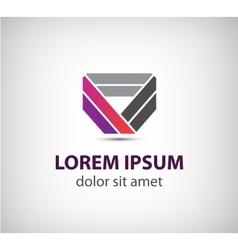 abstract colorful ribbon icon logo vector image