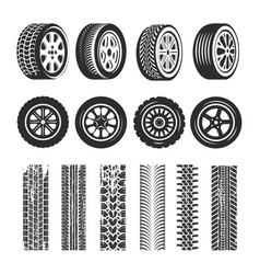 Car tires and track traces isolated icons vector