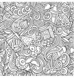 cartoon doodles russian food seamless pattern vector image