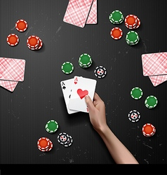hand with poker cards vector image