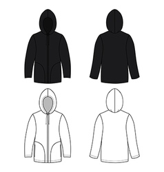 Hoodie black leather sweater vector image