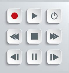 Media player control icon set vector image vector image