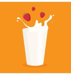 milk splash in the glass and raspberry vector image vector image