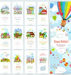 sweet set banners of cute cityscape Urban vector image vector image