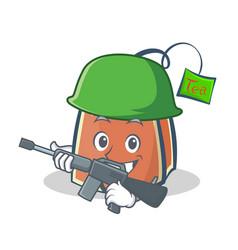 Army tea bag character cartoon vector