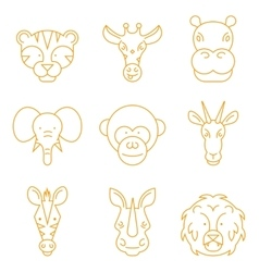 Line african animals icon set vector