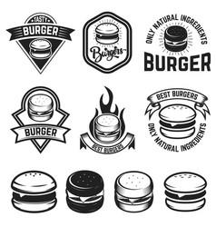 set of burger labels design elements for logo vector image vector image