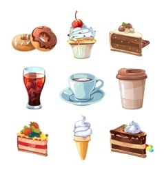 Street cafe products cartoon set Chocolate vector image