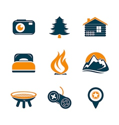 Travel and outdoor icons set vector image vector image