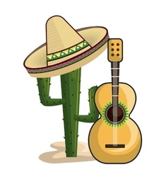viva mexico poster cactus isolated vector image vector image