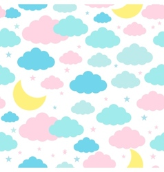 Childish seamless background with moon clouds and vector image