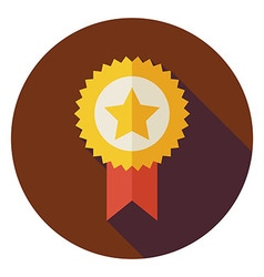 Flat Award Gold Medal Circle Icon with Long Shadow vector image vector image