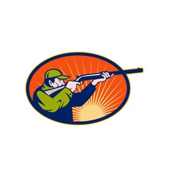 Hunter aiming rifle shotgun side view vector image vector image
