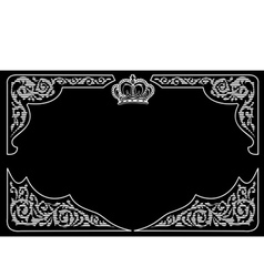 One Color Vintage Background With Crown And Ornate vector image